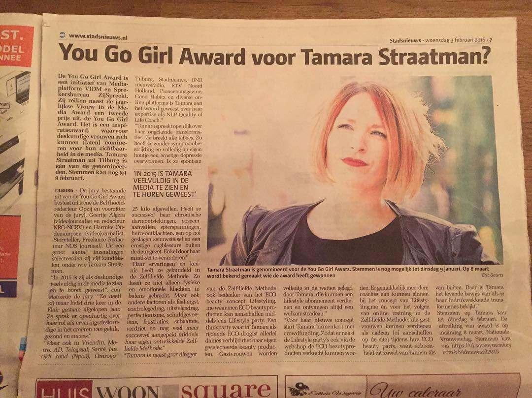Tamara genomineerd voor een media award!