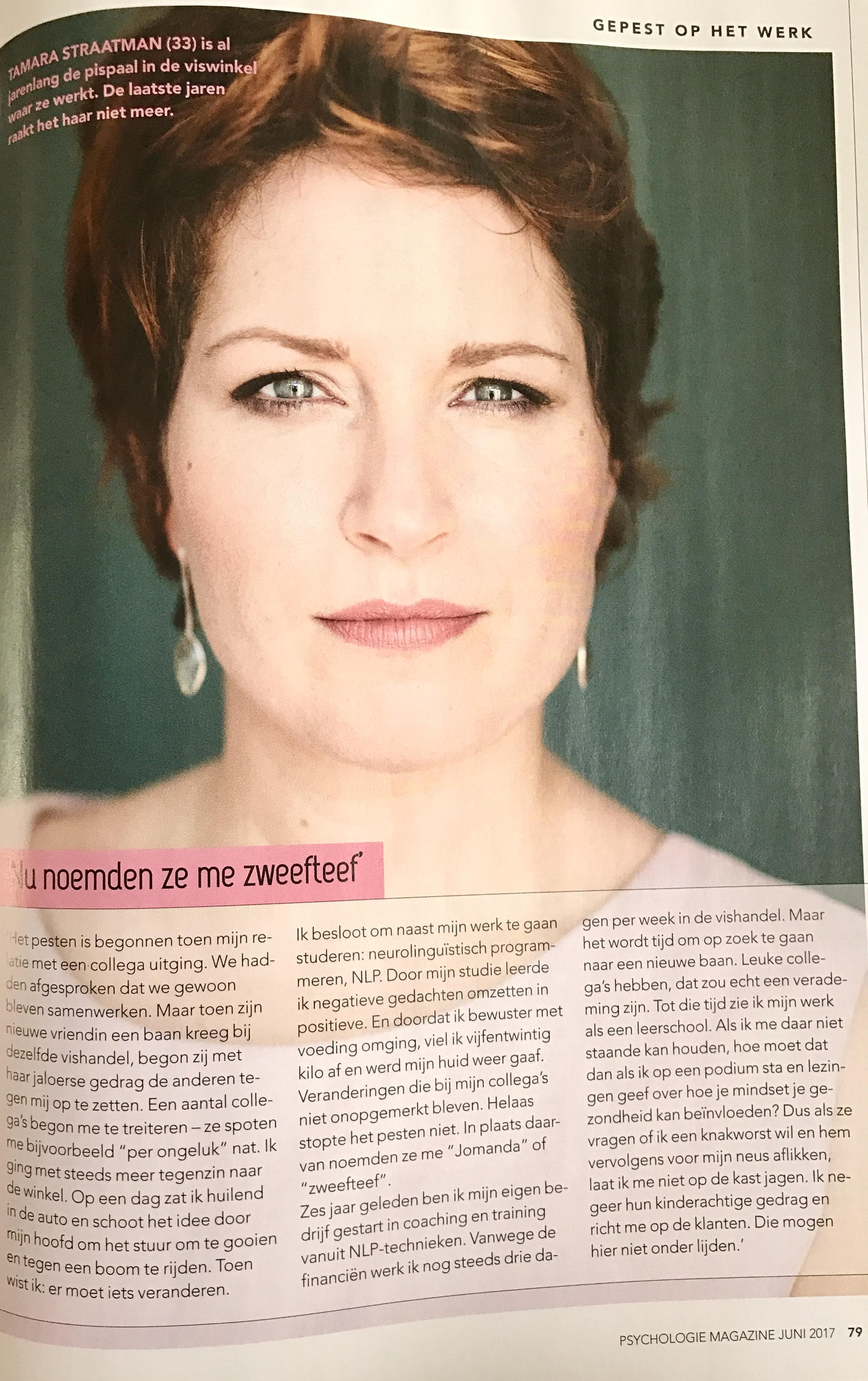 Tamara in Psychologie magazine & een bijzonderverhaal.nl over haar pestverleden
