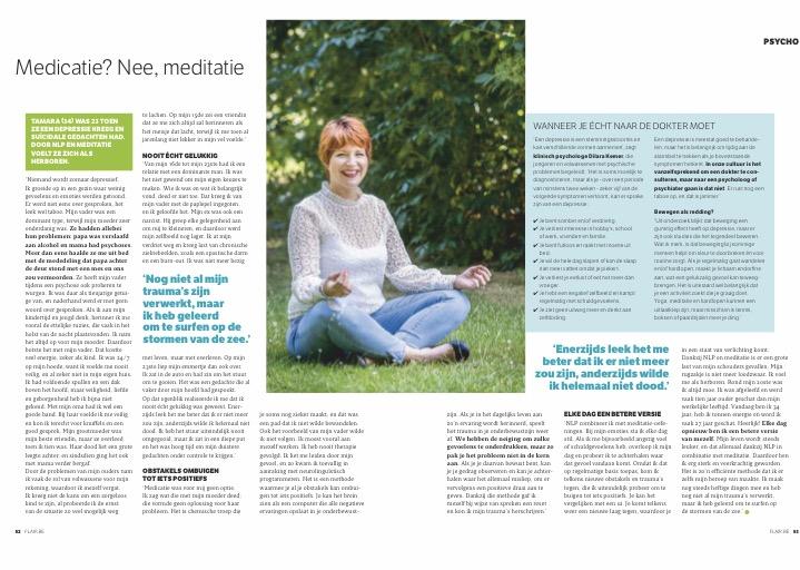 Tamara in de Belgische Flair over het succes van NLP & meditatie bij depressie en burn-out verschijnselen.