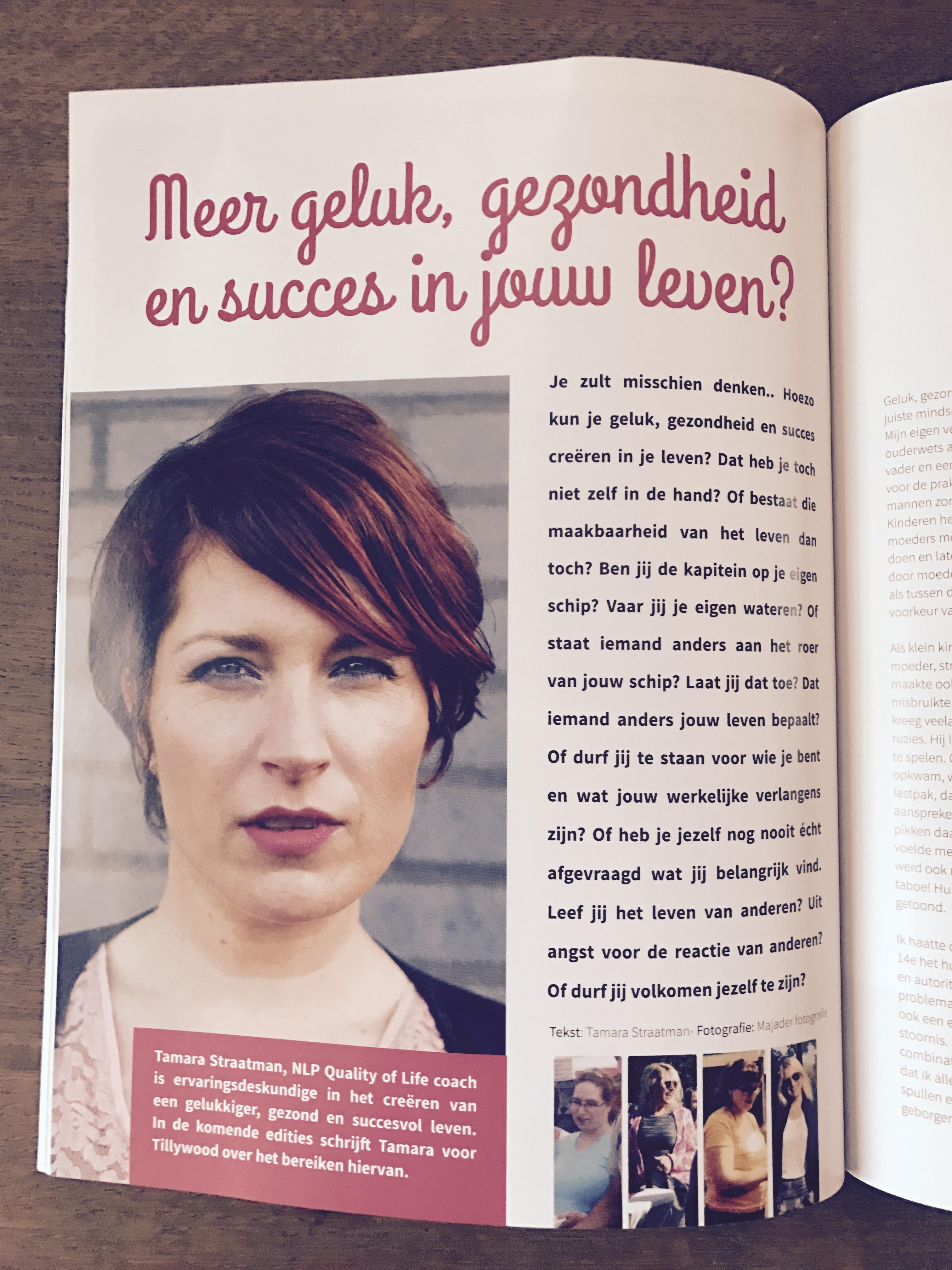 Tamara als vaste columniste bij Tillywood magazine